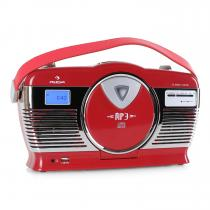 RCD-70 Retro Vintage Portable Radio FM CD/MP3 USB Battery - Red