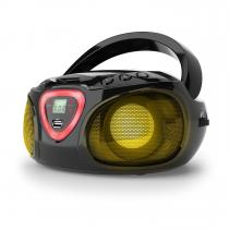 Roadie Boombox CD USB MP3 AM / FM Radio Bluetooth 2.1 LED Colour Play Black
