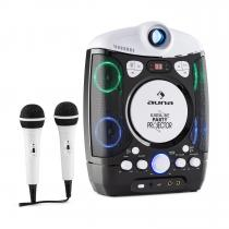 Kara Projectura 2 in 1 Karaoke Machine Beamer with projector LED USB MP3 CD 2 x Mic Black
