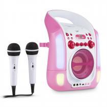 Kara Illumina Karaoke Machine CD USB MP3 LED Light Show 2 x Microphones Portable pink