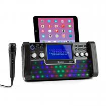 "DiscoFever Bluetooth Karaoke System LED 7"" TFT-Screen CD USB Black"