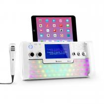 "DiscoFever Bluetooth Karaoke System LED 7"" TFT-Screen CD USB White"