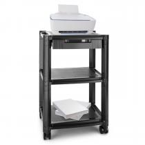 P-Stand Printer-Roller Table with drawer media carrier 3 storage drawers black