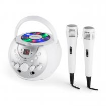 SingSing Portable Karaoke System LED Battery Operation 2 x Microphone White