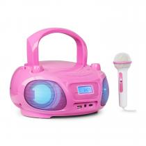 auna Roadie Sing CD Boombox FM Radio Light Show CD Player Microphone Pink