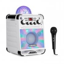 Rockstar LED Karaoke System CD Player Bluetooth USB AUX 2 x 6.3mm White