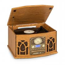 auna NR-620 DAB Stereo Wooden Turntable DAB + CD Player Brown