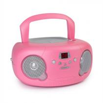 auna Pink Bonbon CD Boombox CD Player Bluetooth FM AUX-IN LED Display Pink