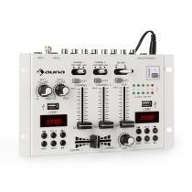auna DJ-22BT MKII Mixer 3/2-Channel DJ Mixer BT 2xUSB Rack Mount white