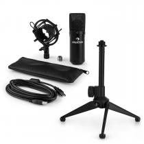 MIC-900B USB Microphone Set V1 | Black Condenser Microphone Tabletop Stand
