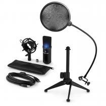 MIC-900B-LED USB Microphone Set V2 Condenser Microphone Pop shield Tabletop Stand