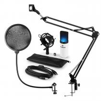 MIC-900WH-LED USB Microphone Set V4 Condenser Microphone Pop-Protection Microphone arm LED white