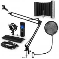 MIC-900B-LED USB Microphone Set V5 Condenser Microphone Pop-Protection Screen Arm black