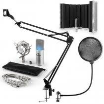 MIC-900S-LED USB Microphone Set V5 Condenser Microphone Pop-Protection Screen Arm silver