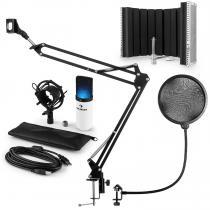 MIC-900WH-LED USB Microphone Set V5 Condenser Pop Screen Arm LED White