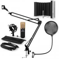 MIC-900BG USB Microphone Set V5 Condenser Pop Screen Arm LED Gold