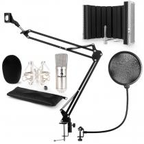 CM001S Microphone Set V5 Condenser Microphone Arm POP-Shield Screen silver