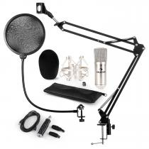CM001S Microphone Set V4 Condenser Microphone Arm POP-Shield silver