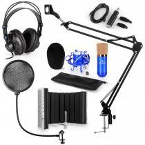 CM001BG Microphone Set V5 Headphone USB-Adapter Arm POP Protection Screen blue