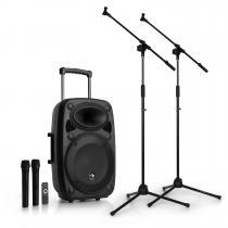 "Streetstar 12 Mobile PA System Microphone Set 12"" PA System 2 x Mic"