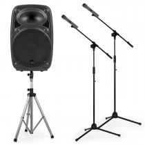 """Streetstar 12 Mobile PA System Set 12"""" PA Speaker Stand 2 x Microphone Stand"""