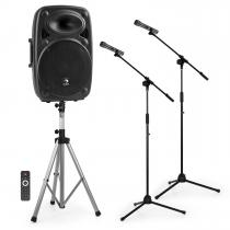 """Streetstar 15 Mobile PA system 2x Microphone Stands Set 15"""" PA System"""