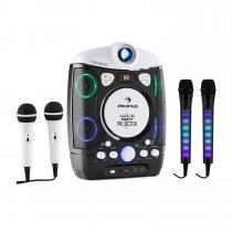 auna Kara Projectura Black + Dazzl Mic Set Karaoke System Microphone LED Illumination