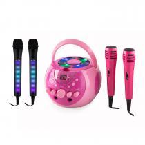 auna SingSing Pink + Dazzl Mic Set Karaoke System Microphone LED lighting