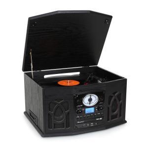 NR-620 Retro Record Player Turntable CD MP3 USB SD Tape Radio Black