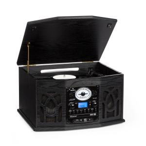 NR-620 Retro Record Player Turntable CD MP3 USB SD Tape Radio Black