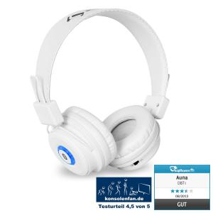 Auna DBT-1 Casque Bluetooth batterie kit mains-libres blanc