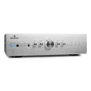 Auna CD708 amplificatore stereo AUX Phono 600W argento