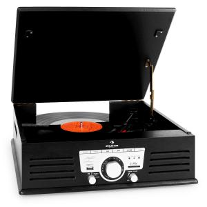 TT-92B Record Player Turntable Built-in Speakers USB SD AUX FM Black