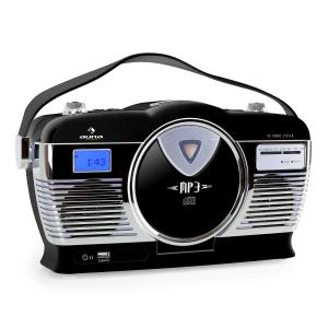 RCD-70 Retro Vintage Portable Radio FM CD/MP3 USB Battery - Black