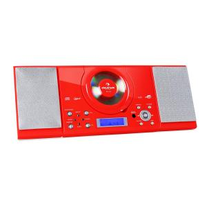 MC-120 Microanlage Vertikalanlage MP3-CD-Player USB AUX Wandmontage rot