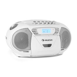 auna KrissKross Lecteur CD cassette radio FM portable USB MP3 AUX -blanc