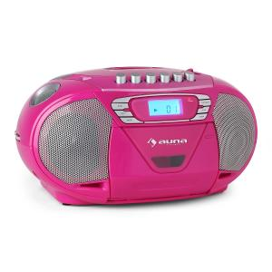 Auna KrissKross Lecteur CD-K7 portable USB MP3 CD FM -rose