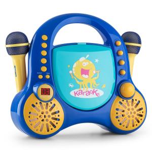 Rockpocket Kinder-Karaoke-System CD AUX 2x Mikrofon Sticker Set blau