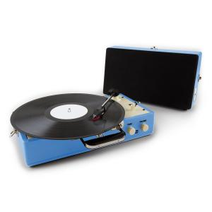 Nostalgy Buckingham Retro Suitcase Turntable Record Player Blue
