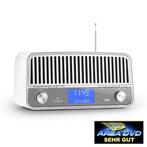 Nizza DAB+ Retro-Radio Bluetooth UKW AUX 2.1 Subwoofer weiß