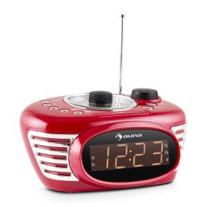 RCR 56 RD Retro Alarm Clock Radio FM AUX Red