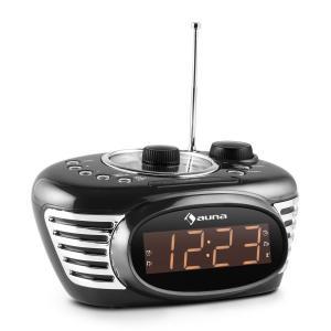 Auna RCR 56 BK Radio Sveglia Retro FM AUX Doppio Allarme Nera