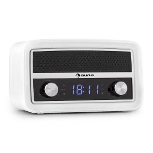 Caprice WH Retro Radio Alarm Clock Bluetooth FM USB AUX White