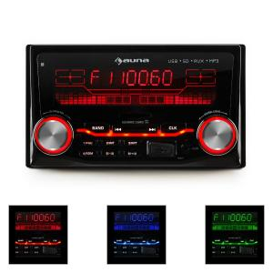 auna MD-200 2G Autoradio USB SD MP3 enregistrement radio 3 couleurs 4x75W Line-O