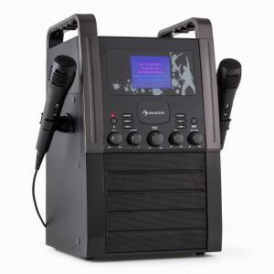Auna KA8B-V2 BK Karaoké systeme Chaîne karaoké Lecteur CD AUX 2 micros -noir