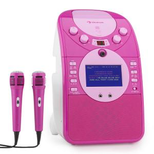 auna ScreenStar Chaîne karaoké caméra CD USB MP3 + 2 microphones -rose