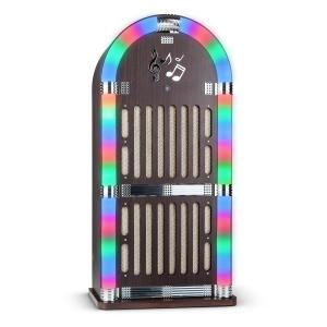 Memphis DK Jukebox Bluetooth UKW 2 x AUX LED-Lichteffekt Holz