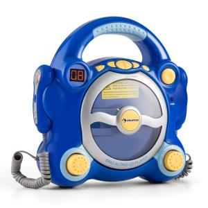 auna Pocket Rocker Lecteur CD karaoké enfant Sing-A-Long 2 micros -bleu