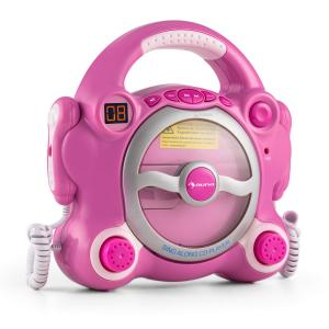 auna Pocket Rocker Lecteur CD karaoké enfant Sing-A-Long 2 micros -rose