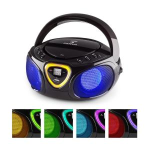 Roadie Boombox CD USB MP3 MW/UKW-Radio Bluetooth 2.1 LED-Farbspiel schwarz